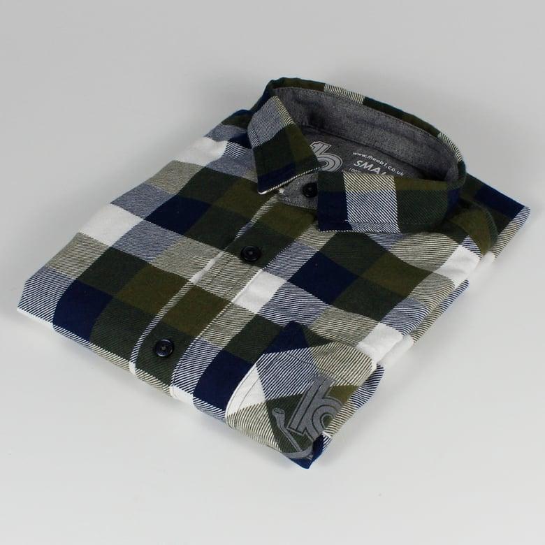Image of Checked Shirt Green/Dark Blue/White