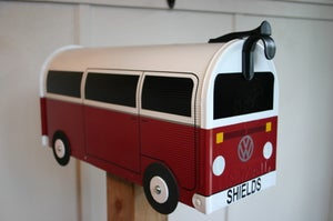 Image of Red Bay Window Two Tone Volkswagen Bus Mailbox By TheBusBox - Choose Your Color