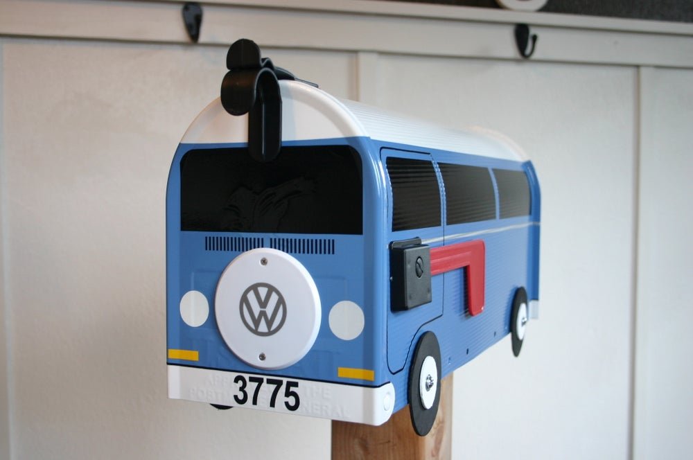 Image of Blue Volkswagen Bay Window Bus Mailbox With Spare Tire By TheBusBox - Choose Your Color