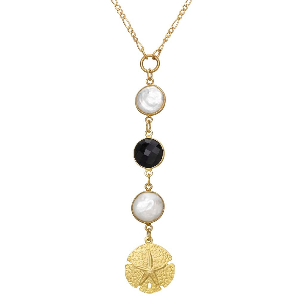 Image of BIANCA ONYX, PEARL & SEASHELL NECKLACE