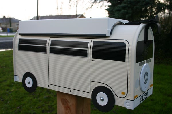Image of Heirloom White Bay Window VW Bus Camper with Spare Tire Cover by TheBusBox - Choose Your Color