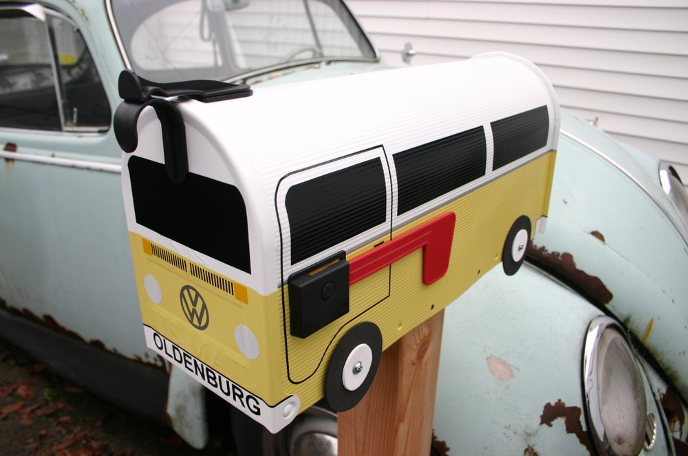 Image of Yellow Bay Window Two Tone Volkswagen Bus Mailbox by TheBusBox - Choose Your Color