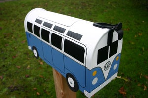 Image of Blue 21 Window Made To Order Volkswagen Bus - Blue Mailbox by TheBusBox - Choose Your Color