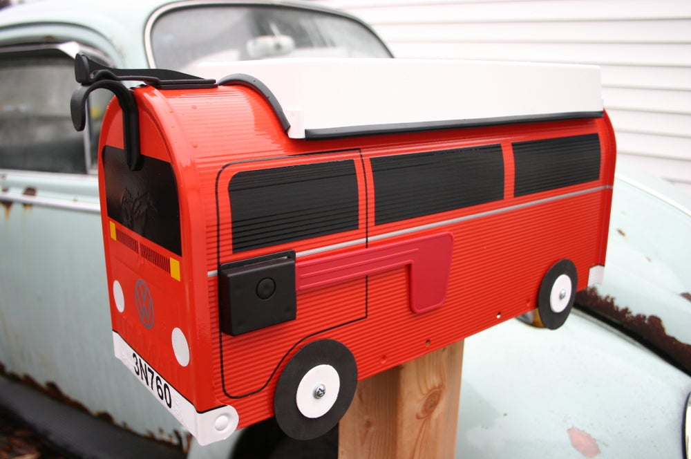 Image of Orange Volkswagen Bus Bay Window Camper by TheBusBox - Choose Your Color