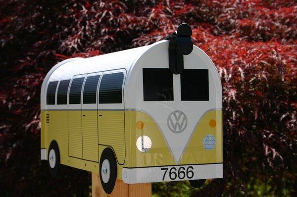 Image of Yellow Volkswagen Split Window Bus Mailbox by TheBusBox - Choose Your Color