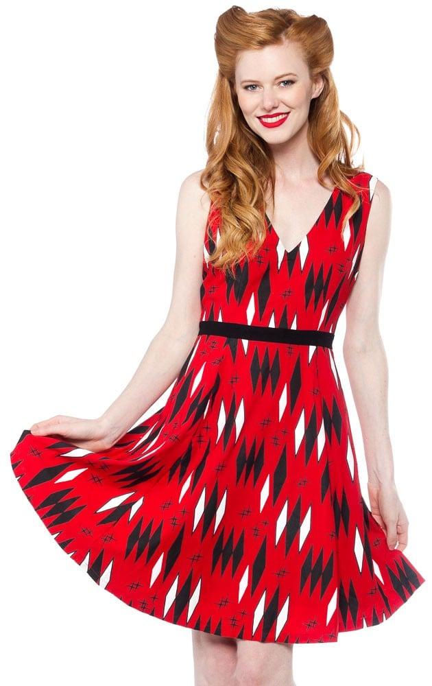 Image of RETRO DIAMOND RED DRESS - SOURPUSS