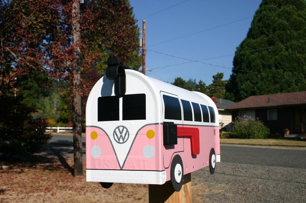 Image of Pink Volkswagen Split Window Bus by TheBusBox - Choose Your Color VW Splitty