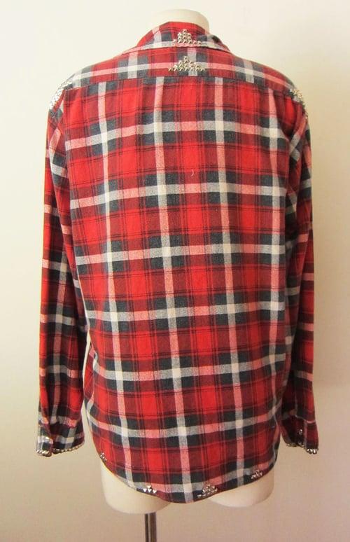 Image of Custom Studded Vintage Flannel Red