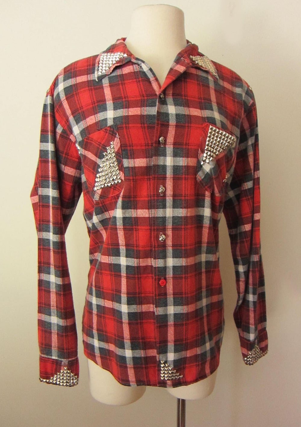 Image of Custom Studded Vintage Flannel Red