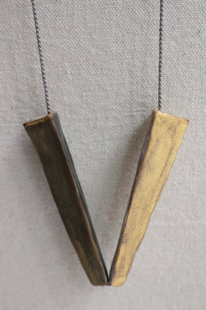 Image of Stoneware necklace, silk chord in cloud