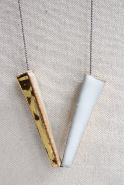 Image of Porcelain and stoneware necklace, silk chord in cloud