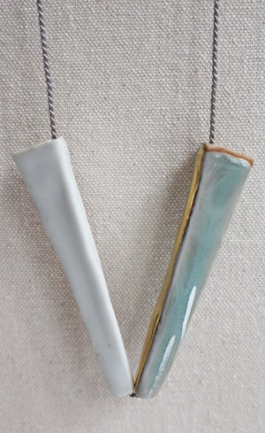 Image of Porcelain and stoneware necklace (2), silk chord in cloud