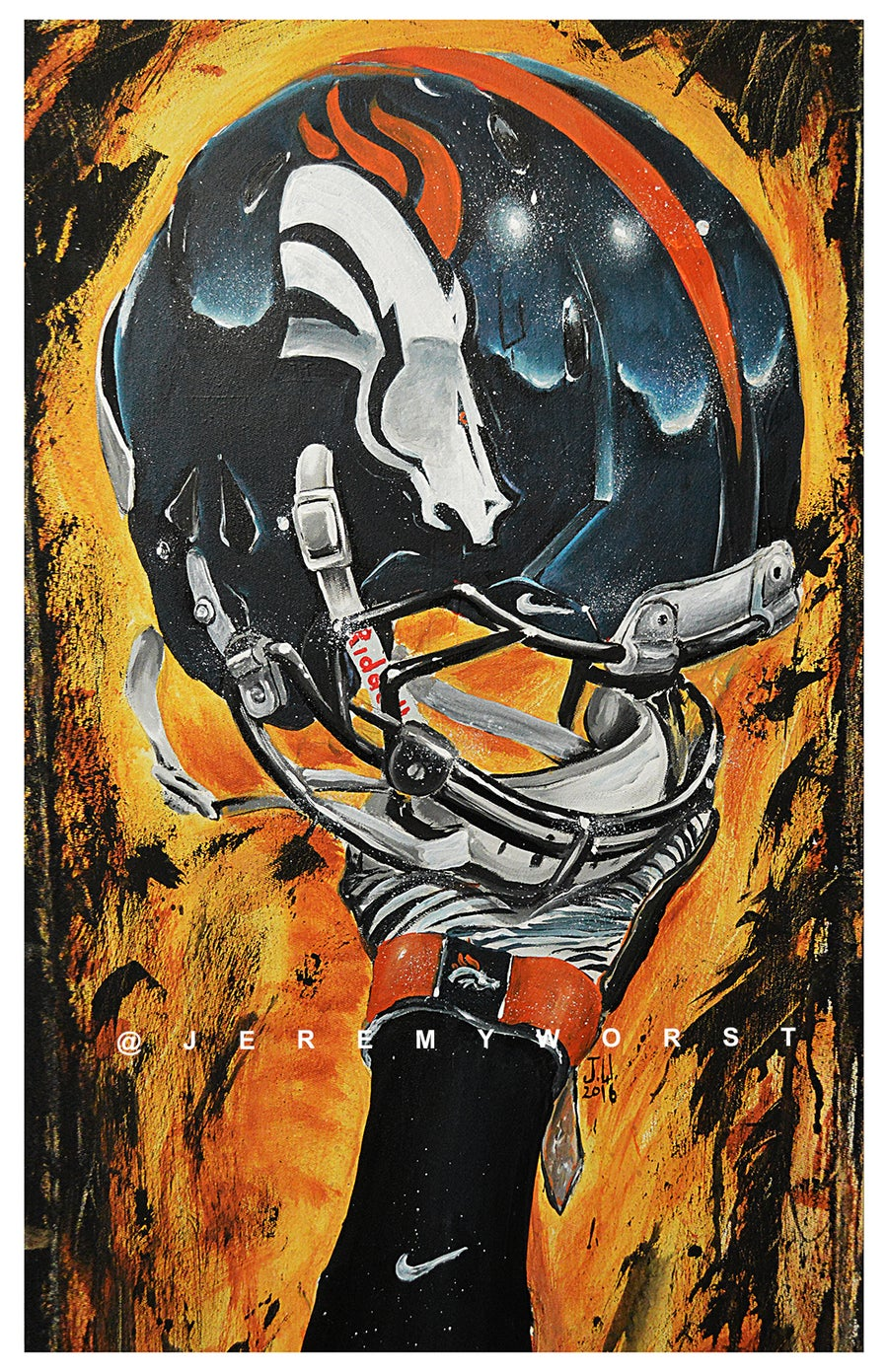 Image of JEREMY WORST Denver Broncos Nation Painting Canvas Print Artwork helmet art