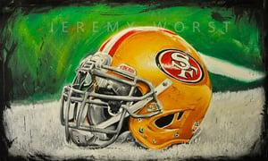 Image of JEREMY WORST San fransico 49ers Painting Print Artwork helmet nfl football helmet player sports