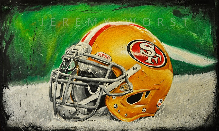 Image of JEREMY WORST San fransico 49ers Painting Print Artwork helmet nfl football helmet player sports