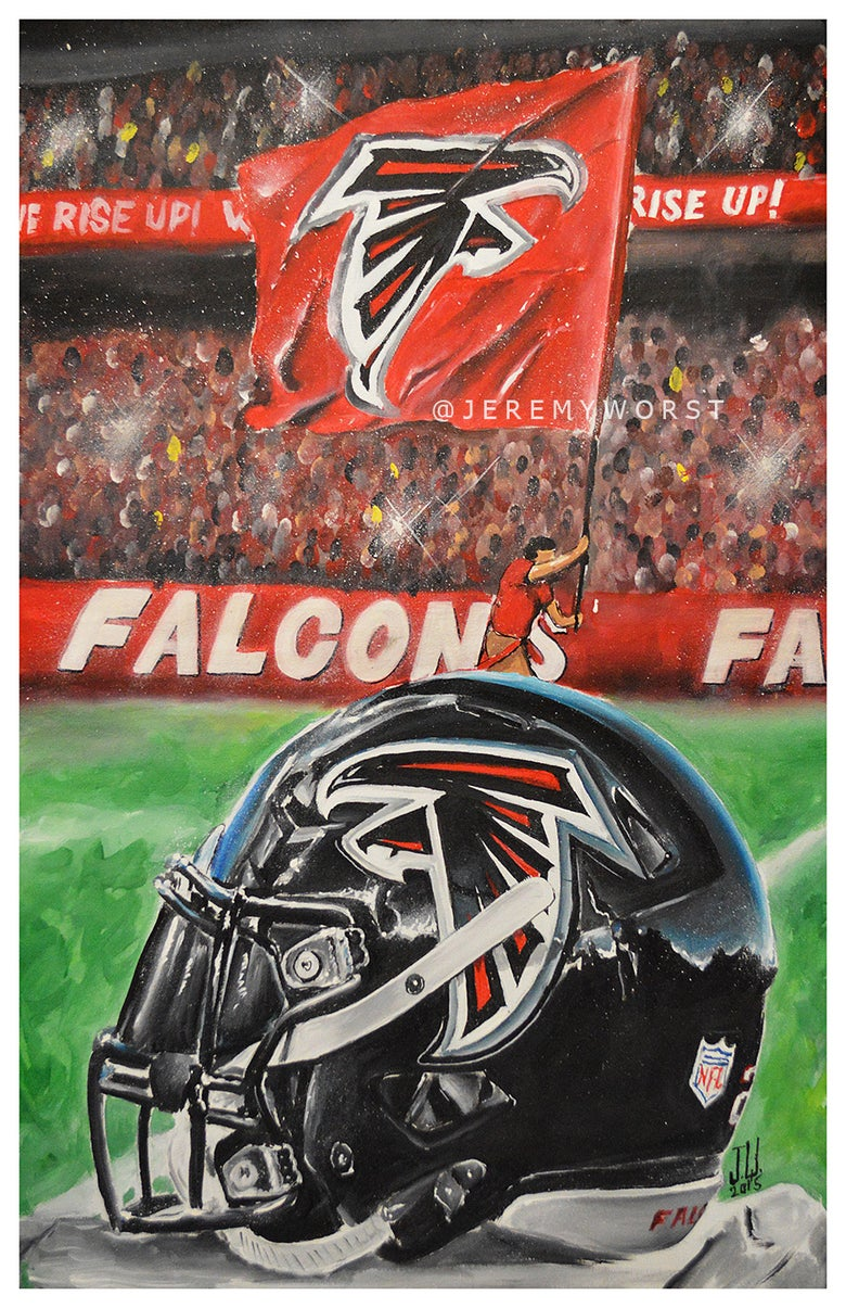 Image of JEREMY WORST Atlanta Falcons Rise up Painting Print Artwork helmet nfl football helmet player sports