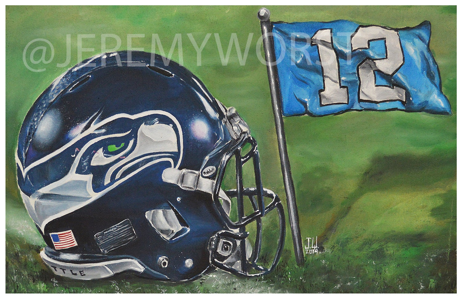 Image of JEREMY WORST Seattle Seahawks Painting Print Artwork helmet nfl football helmet player sports