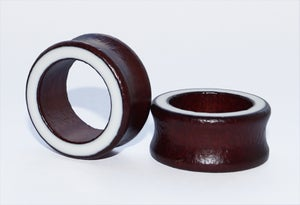 Image of Red Wood and White Line Enamel Organic Ear Tunnels
