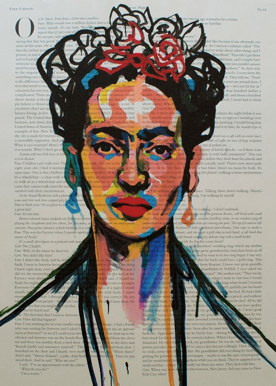 Image of Frida Kahlo Art Print on Newspaper. Limited Edition № 43 of 50. Signed and numbered