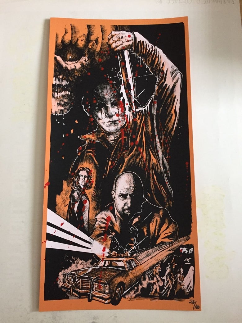 Image of The Nightmare isn't Over -MindWarp BLOOD SPLATTERED variant edition Screen Print- Numbered Edition.