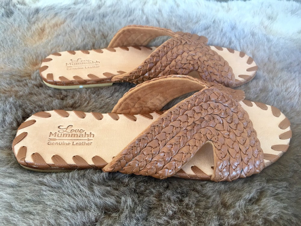 Image of Ladies Luna Leather plait slides - TAN