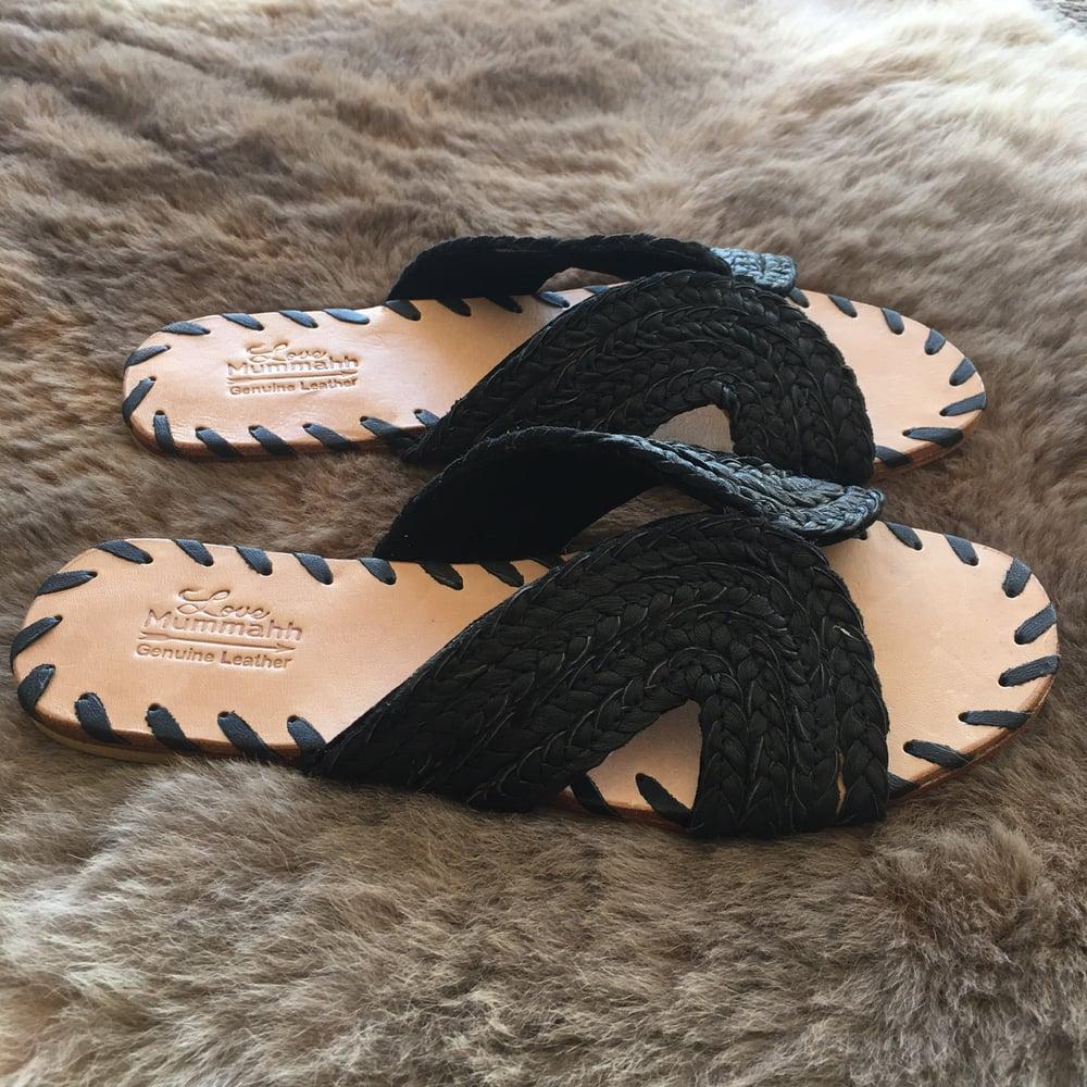 Image of Ladies Luna Leather plait slides - BLACK