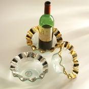 "Image of Annieglass 7 3/4"" Ruffle Wine Coaster Gold"