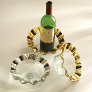 "Image of Annieglass 7 3/4"" Ruffle Wine Coaster Gold"