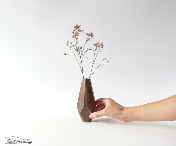 Image of Wood vase - modern home decor - dry flower vase - housewarming gift - table centerpiece