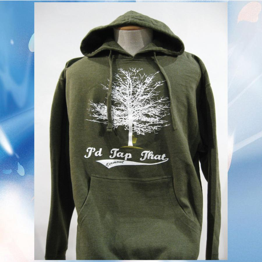 Image of I'd Tap That - Maple Syrup Tree - Vermont Hooded Sweatshirt - Vermont Hoodie - Moss Green