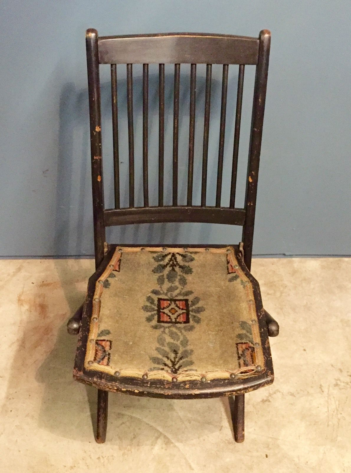 ... Image Of Antique Victorian Ebonised Folding Chair With Tapestry Seat U0026  Stick ...