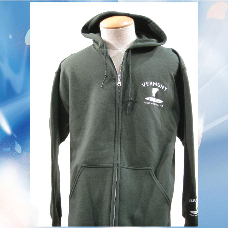 Image of Vermont Hoodie VT established 1791 with cuff Print - Zip Hooded Sweatshirt (Forest/White) - Hoodie