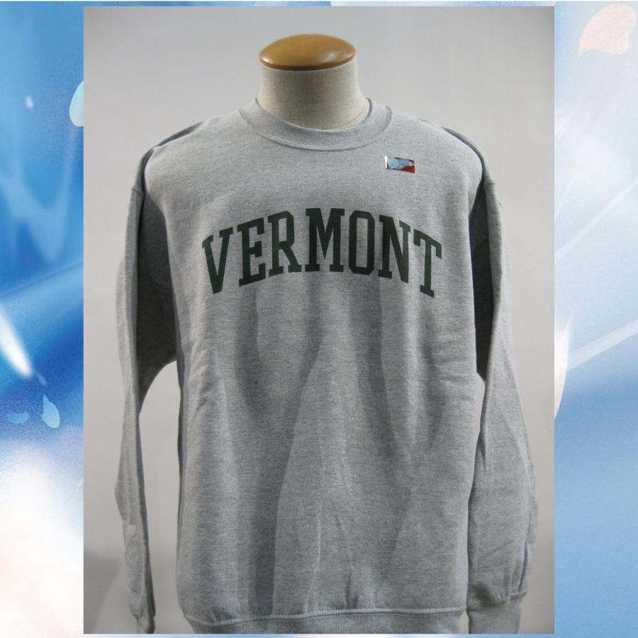 Image of Vermont Arch Sweatshirt on Ash Gray Crew Neck with Green Arch - UVM University of Vermont  Crew - VT