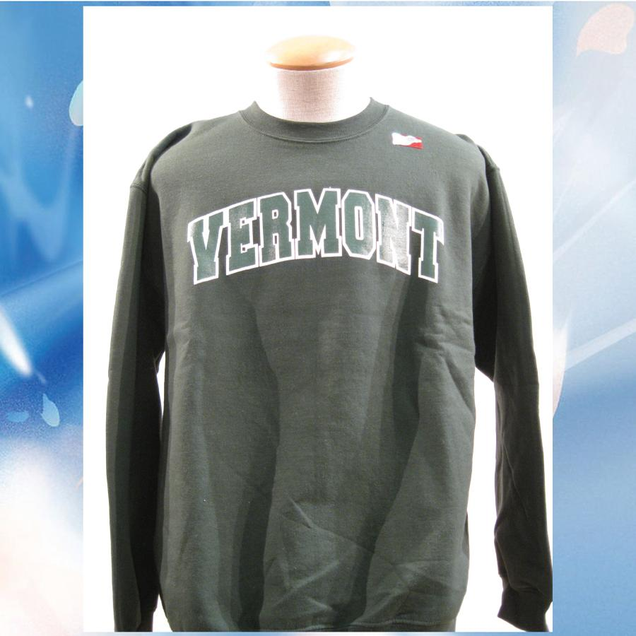 Image of Vermont Arch Sweatshirt on Forest Green Crew Neck with white/green Arch - University of Vermont Crew