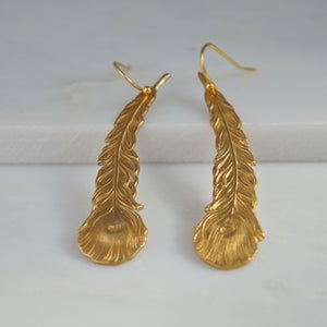 Image of Peacock feather earrings