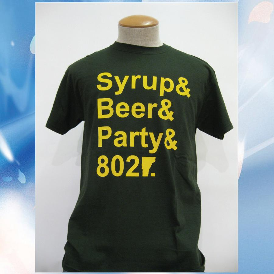 Image of Syrup, Beer, Party and 802 Vermont T-Shirt