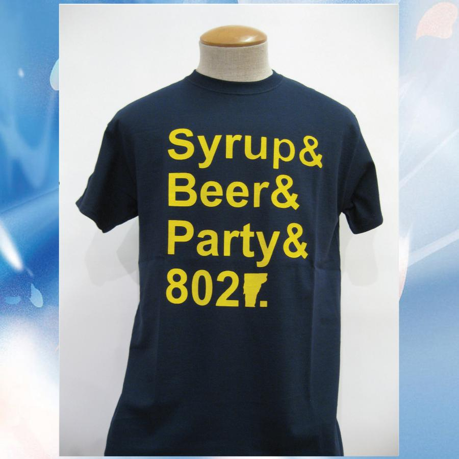 Image of Syrup, Beer, Party and 802 Vermont T-Shirt - Navy w/ Yellow