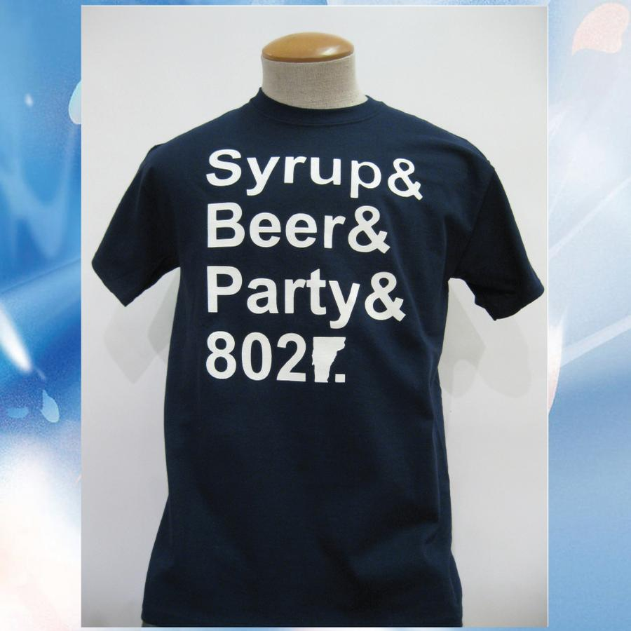 Image of Syrup, Beer, Party and 802 Vermont T-Shirt - Navy w/ White