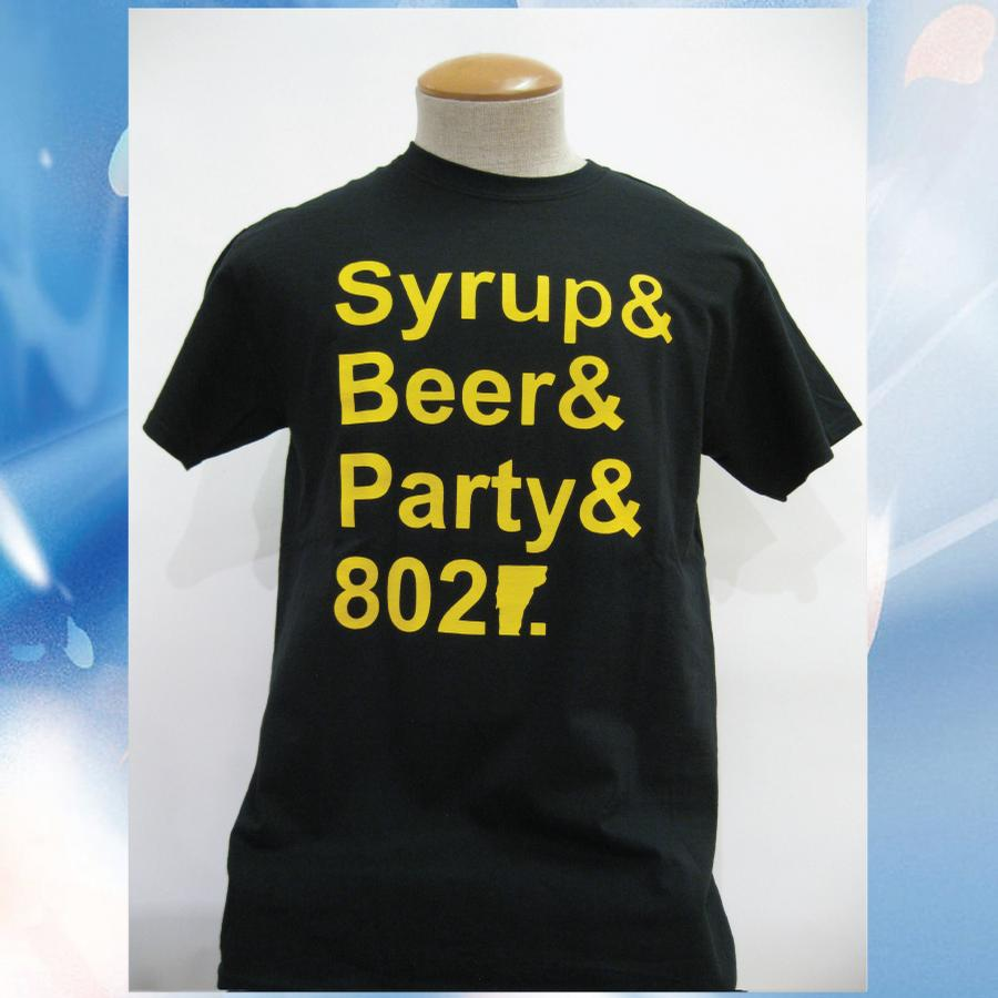 Image of Syrup, Beer, Party and 802 Vermont T-Shirt - Black w/ Yellow