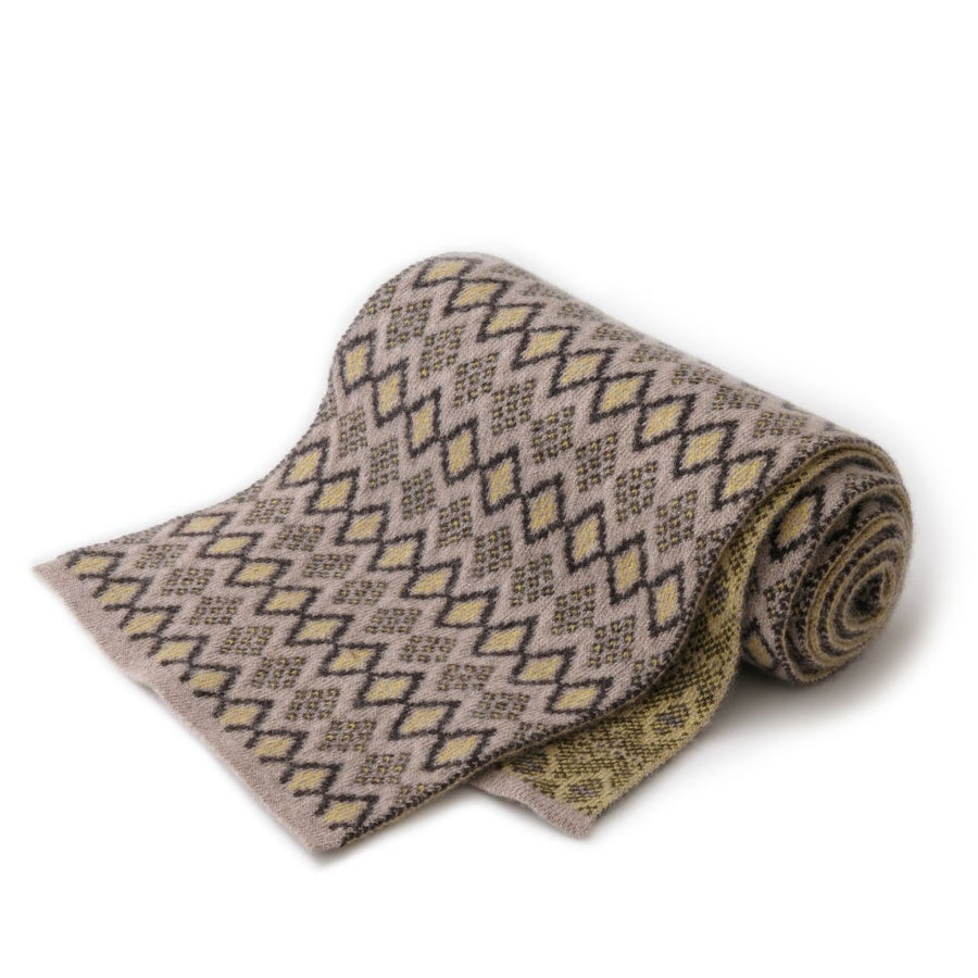 Image of African Diamond Scarf in Beige x Yellow