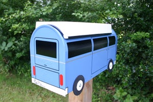 Image of Blue Volkswagen Bay Window Camper Bus by TheBusBox VW Westy