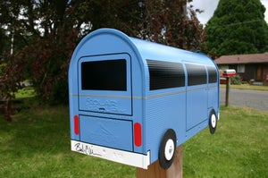 Image of Blue Bay Window Volkswagen Bus Mailbox by TheBusBox VW