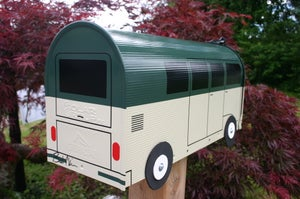 Image of Volkswagen Bus Mailbox by TheBusBox Green and Cream