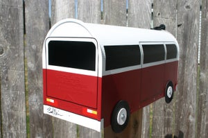 Image of Red and White Volkswagen Vanagon Mailbox by TheBusBox