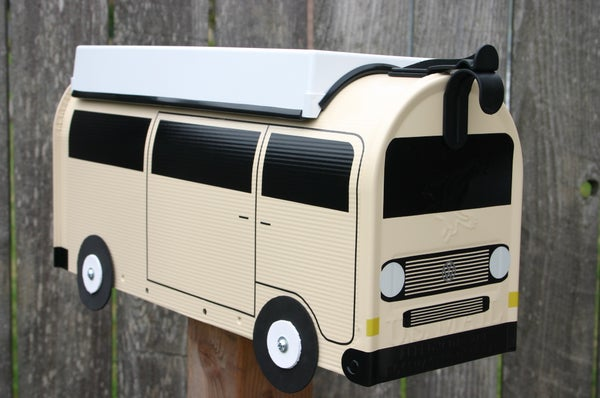 Image of Cream Volkswagen Vanagon Camper Bus Mailbox by TheBusBox VW