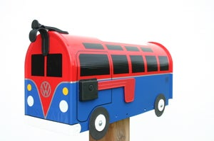 Image of Red and Blue Volkswagen 21 Window Bus Mailbox by TheBusBox VW