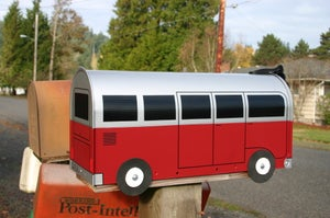 Image of Red and Silver Volkswagen Bus Mailbox by TheBusBox VW