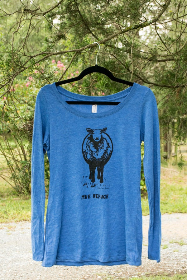 Image of Women | long sleeve, heather blue, Sheep logo