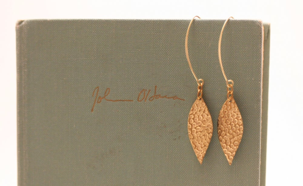 Image of Textured Brass Leaf Earrings