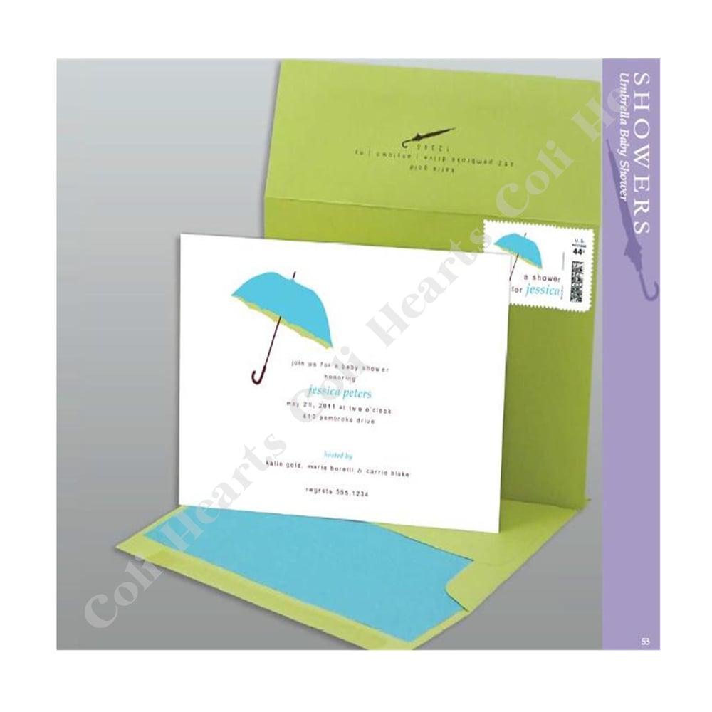 image of umbrella blue green bridal shower invitation